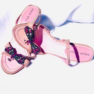 Pink Suede Rhinestone Dragonfly Slingback Heels